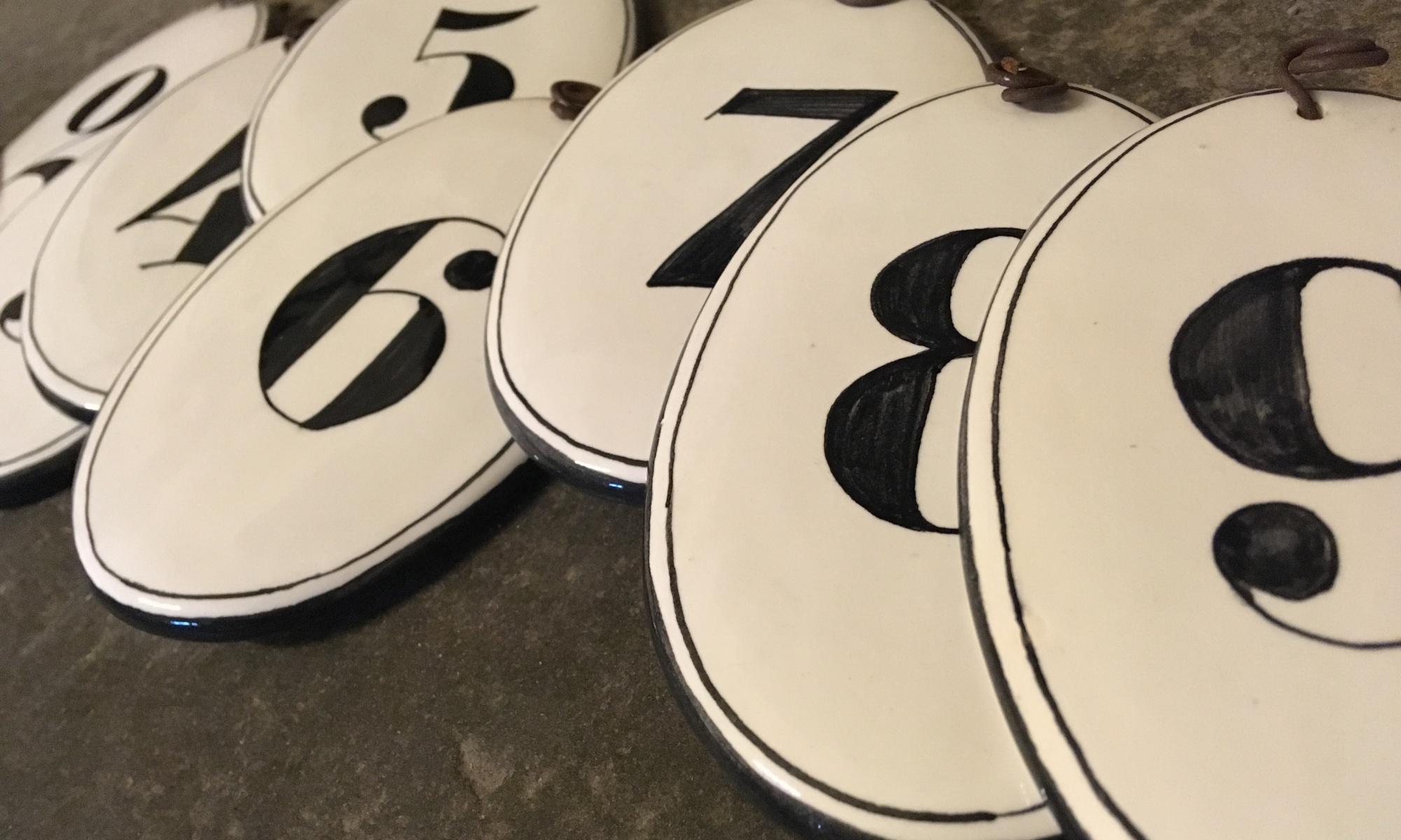 Handmade ceramics room numbers